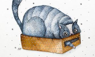 Акварелние картини незвичайних кішок