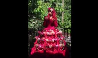 Художниця пошила сукню-годівницю для колібрі