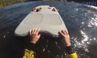 Спортсмен врятував з бурхливої річки потопаючу білку