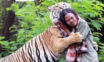 В індонезії чоловік приручив 150-кг тигра